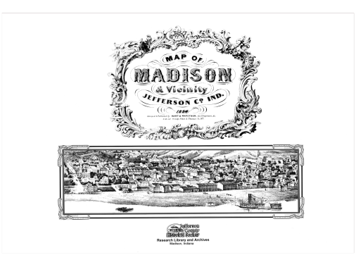 Picture of the cover of the 1854 map book of Madison, IN