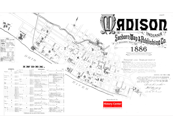 Picture of the cover of the 1886 Sanborn map book of Madison, IN