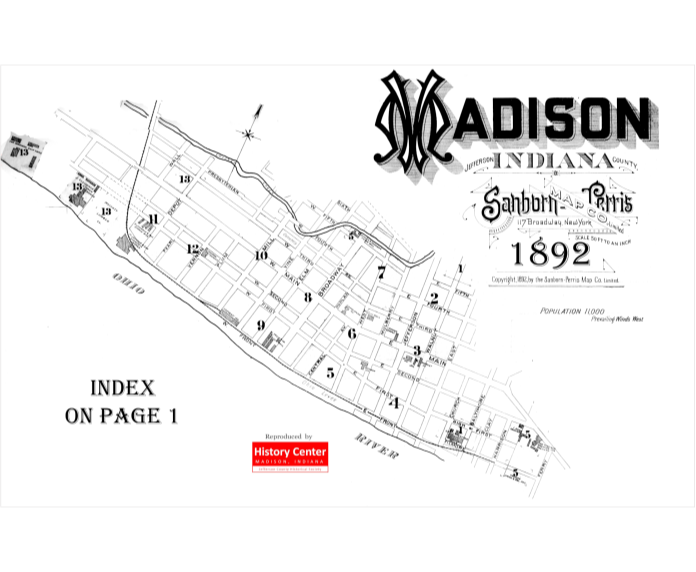 Picture of the cover of the 1892 Sanborn map book of Madison, IN