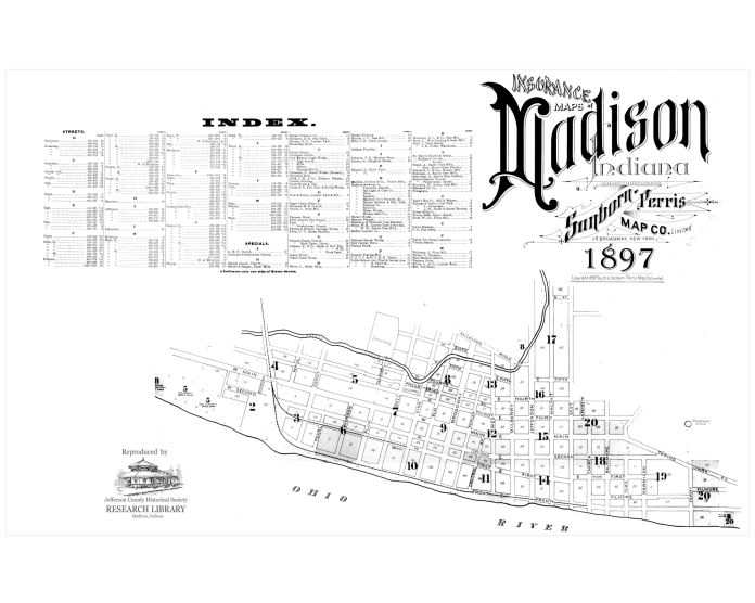 Picutre of the cover of the 1897 Sanborn map book of Madison, IN