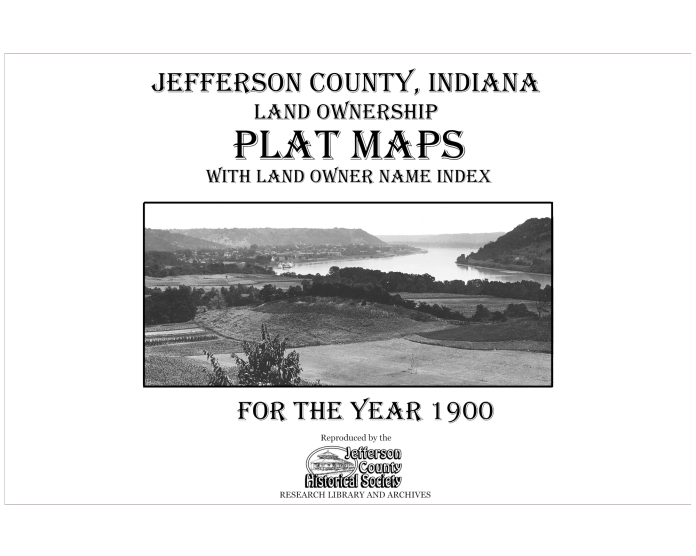 Picture of the cover of the 1900 plat map book of Jefferson County, IN