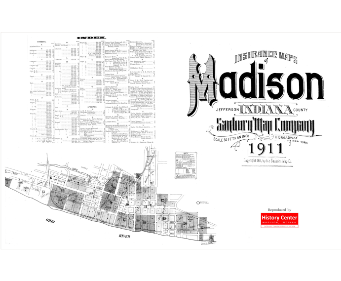 Picture of the cover of the 1911 Sanborn map book of Madison, IN