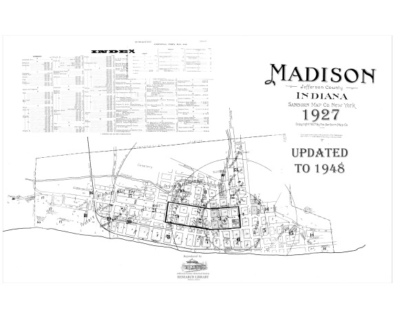 Picture of the cover of the 1948 Sanborn map book of Madison, IN