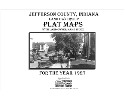 Picture of the cover of the 1927 plat map book of Jeffrson County, IN
