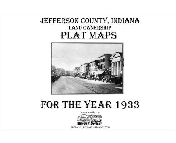 Picture of the cover of the 1933 plat map book of Jefferson County, IN