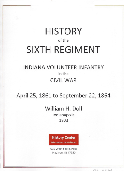 Picture of the cover of a book titled History of the Sixth Regiment - William Doll