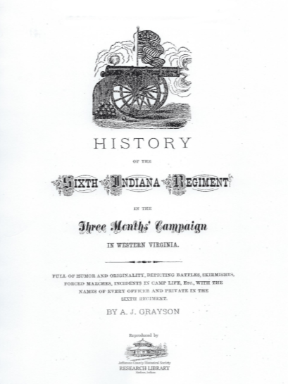 Picture of the cover of a book titled History of the Sixth Indiana Regiment - A. J. Grayson