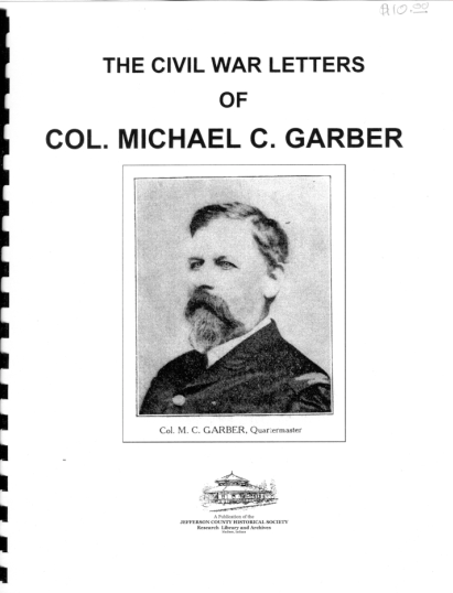 Picture of the cover of a book titled The Civil War Letters of Colonel Michael C. Garber