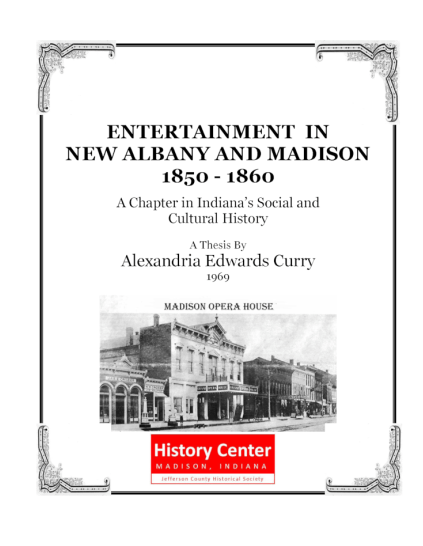 Picture of the cover of a book titled Entertainment in New Albany and Madison 1850 – 1860