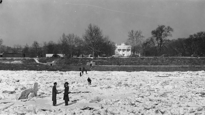 Photo taken in 1940 of people walking on the frozen Ohio River, Madison, Indiana