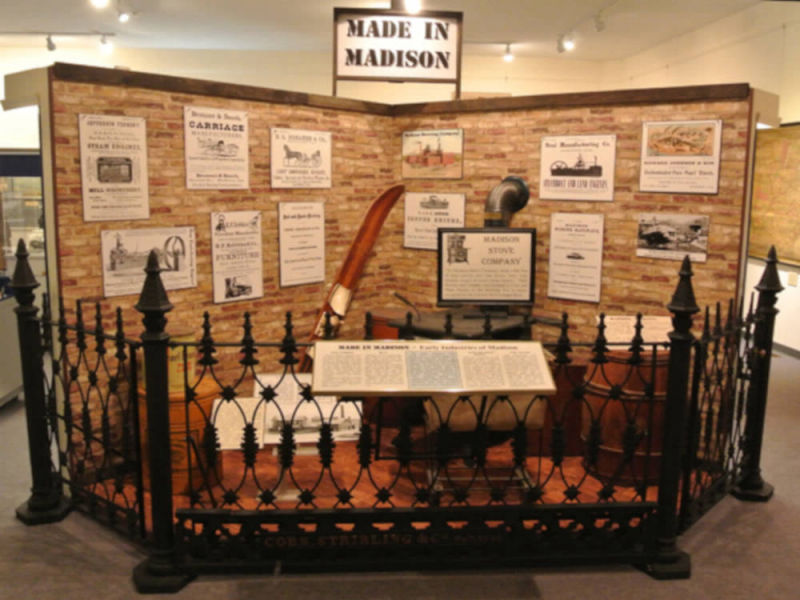 Photo of the Made in Madison display in the museum of the History Center