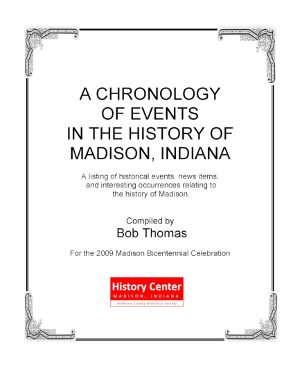 Picture of the cover of a book titled A Chronology of Events in the History of Madison, Indiana