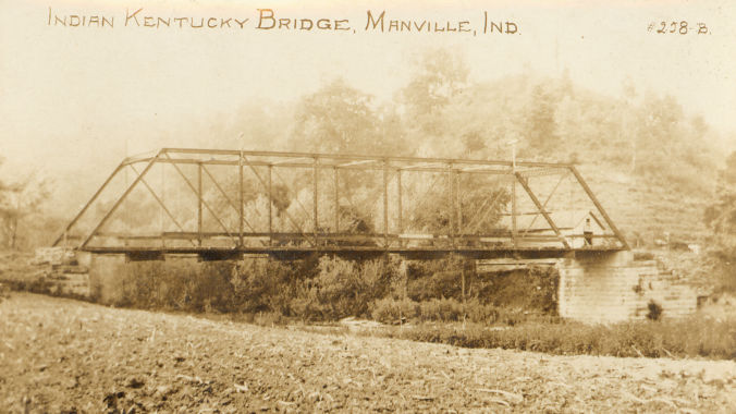1914 photo of the Manville iron bridge over the Indian-Kentuck Creek.