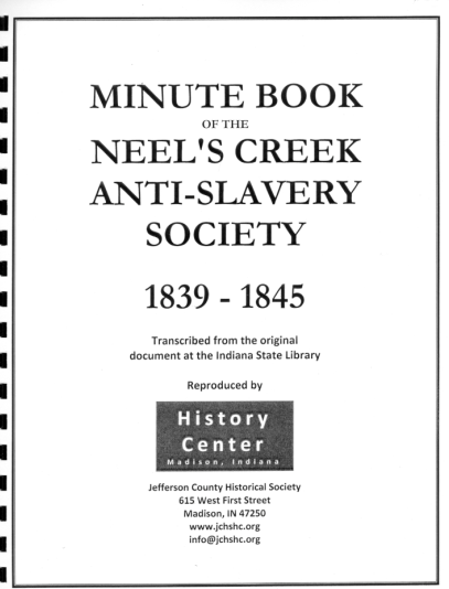 Picture of the cover of a book titled Minute Book of the Neel's Creek Anti-slavery Society 1839 – 1845
