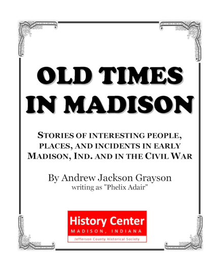 Picture of the cover of a book titled Old Times in Madison