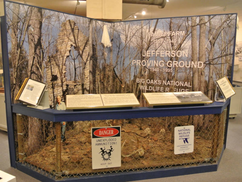 Photo of the Jefferson Proving Ground Display in the museum of the History Center