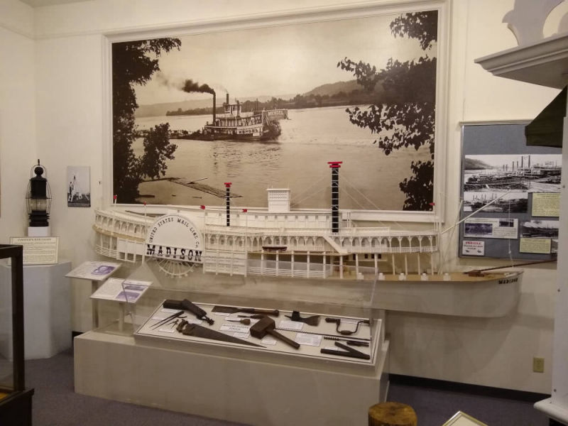 Photo of the riverboat display in the museum of the History Center