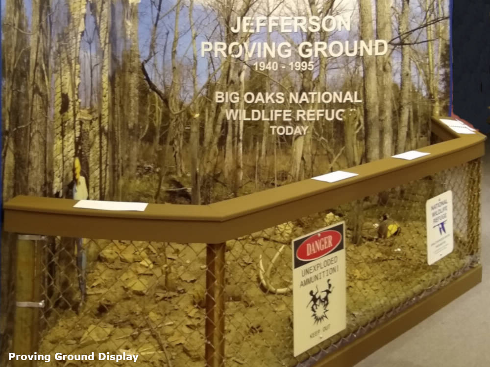 A photo of the Jefferson Proving Ground diorama in the museum of the History Center.