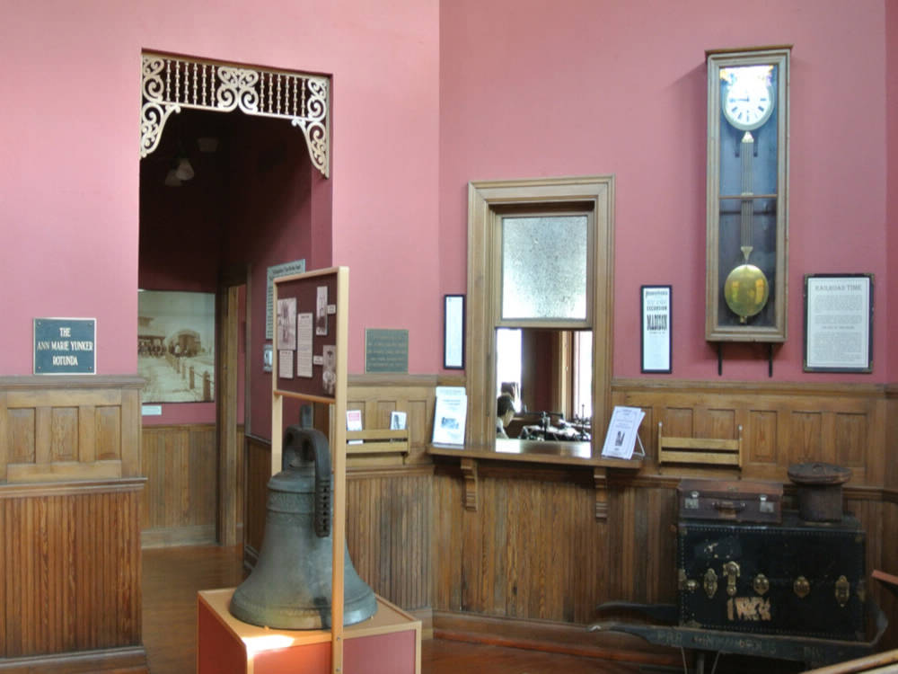 A picture of the inside of the 1895 restored train station which is now a museum.
